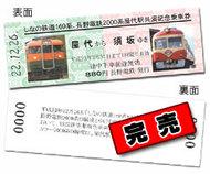 しなの鉄道169系、長野電鉄2000系屋代駅共演記念乗車券(完売)